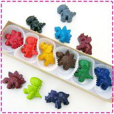 DINOSAUR CRAYONS - Stocking Stuffers - Set of Six (6) - Red, Yellow, Pink, Green, Orange, Blue, Brown, Black