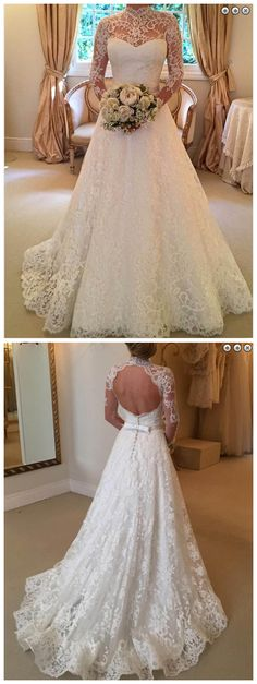Stylish High Neck Long Sleeves Sweep Train Lace Wedding Dress with Bowknot Backless - Wedding Dresses Wedding Dresses 2018, Backless Wedding, Wedding Dress Sleeves, Long Sleeve Wedding, Cheap Wedding Dress, Bridal Dresses, 2017 Wedding, Trendy Wedding, Dress Lace