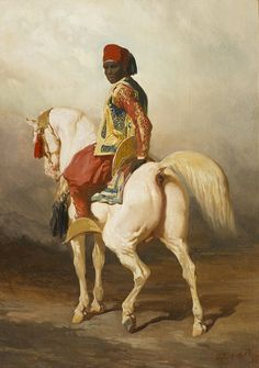 Alfred de Dreux (1810-1860)Sudanese groom riding a white horse, oil on canvas, 46 x 33cm. The pinkish hue on the horse's skin suggest it is a true white, but it has one gray hoove, which indicates the existence of pigment that white horses normally don't have. Perhaps a gray with three white socks giving him shell colored hooves?