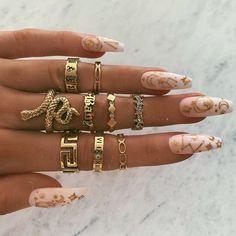 Snake Charmer Ring - BOHOMOON Edgy Nails, Grunge Nails, Stylish Nails, Bling Acrylic Nails, Best Acrylic Nails, Coffin Nails, Nail Jewelry, Cute Jewelry, Danty Jewelry