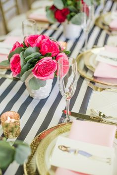 Striped tablecloth and pink roses - A Valentine's Day Friendship Brunch