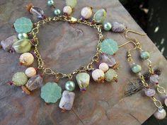 Minty Pastel Vintage Bead Charm Bracelet by moonlilydesigns, $25.00
