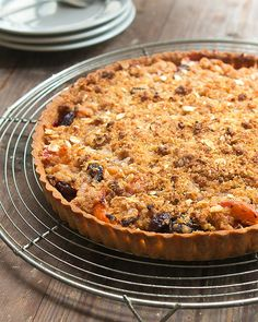 Apricot and Cherry Tart with Marzipan Topping