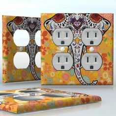 DIY Do It Yourself Home Decor - Easy to apply wall plate wraps   Sugar Skull of Elephant Colorful elephant head and flowers wallplate skin sticker for 2 Gang Wall Socket Duplex Receptacle   On SALE now only $4.95
