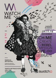 The brief: The objective of this event is to create a promotional campaign for the world famous watch producer, Swatch. The brief is to design a collaboration event , opening an Art exhibition at the Swatch art peace hotel combined with a Street Art fes… Children Cartoon, Poster Design Inspiration, Magazine Cover Design, Graphic Design Posters, Art Festival, Swatch, Street Art, Advertising, Branding