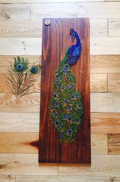 Items similar to Peacock wall art ~ wall hanging ~ peacock picture ~ string art ~ peacock art ~ peacock gift ~ unusual gift ~ bird picture ~ bird gift ~ art on Etsy Feather Wall Art, Creative, Wood Art, Recycled Art, Peacock Wall Art, Thread Art, Pin Art