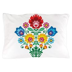 Traditional Polish floral folk embroid Pillow Case
