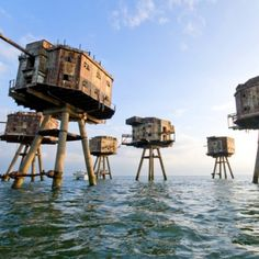 The Maunsell Sea Forts. During the Second World War, the British Royal Navy constructed a series of sea forts for an advanced line of defense against inbound air raids and potential sea invasions.