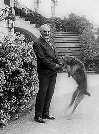 President Harding with his dog Laddie