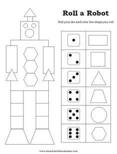 The students had a lot of fun rolling for their robot. They always love a good dice game--and this one works! Shape Games You can fi. Kindergarten Games, Preschool Worksheets, Math Games, Counting Games, Lego Math, Fun Math, Maths, Geometry Games, Drawing Games For Kids