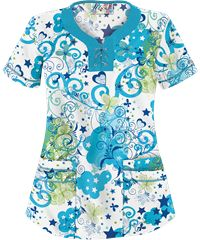 UA Sweet Dreams White Lace Up Neck Print Scrub Top. Not crazy about the lace up but if I was still working NOC shift I would totally wear this.