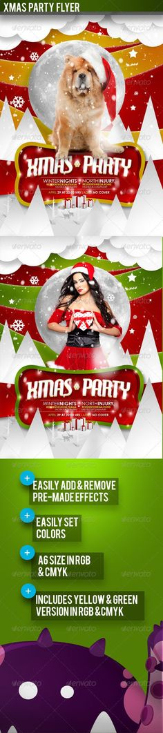 bar, blue, bright, club, cool, dj, electro, fashion, fest, flyer, fresh, green, holidays, house, ice, lounge, modern, music, new year, nightclub, party, pop, print, red, show, snow, style, trendy, yellow Hey, this is my new flyer template for christmas and hollidays. This awesome template can be scaled for all sizes, because most objects are vector shapes . u can change easy colors, add effects, custom typo and all of u want. bright colors, smooth and modern layout for a classic season…
