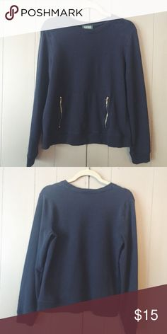 Chic Ralph Lauren sweatshirt✨ You would to see to appreciate this awesome navy blue sweatshirt! Zippered pockets are such a cool detail on this top! Tag says large but I think it would best fit a small or medium woman. Ralph Lauren Tops Sweatshirts & Hoodies