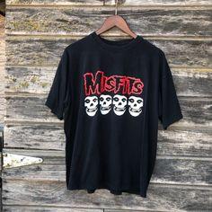 73bbd29b Vintage Misfits black t-shirt L large 90s grunge 1990s skulls horror punk  fiend club