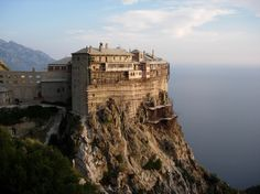 "Simonopetra (""Simon's Rock"") Monastery on a cliff 330' above the Aegean. #Simons_Rock #Monastery #Mount #Athos"
