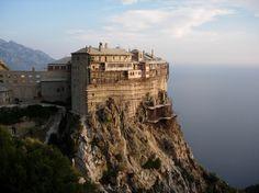 "Simonopetra (""Simon's Rock"") Monastery on a cliff 330' above the Aegean. #Simons_Rock #Monastery"