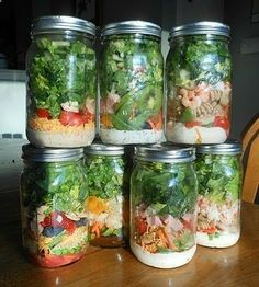 We adore this idea for a quick lunch to bring to work! Make #salad jars on Sunday night and voila--#lunch for the week!