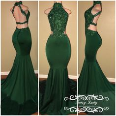 Chic Appliques Mermaid Prom Dresses 2018 Long Green Stretchy Satin Beading Sexy Backless For Women Graduation Dress Formal Evening Gowns
