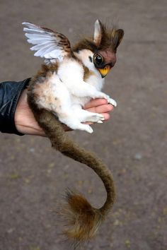 Sparrow Griffin Approximately 20 cm in length (excluding tail) - Completely handmade. Cute Fantasy Creatures, Cute Creatures, Magical Creatures, Cute Baby Animals, Animals And Pets, Funny Animals, Fantastic Beasts, Beautiful Birds, Animal Drawings