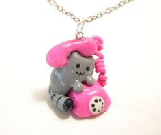 Pusheen the Cat Telephone Necklace by KawaiiPolymerStudios on Etsy, $5.00