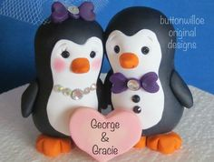 *POLYMER CLAY ~ Pudgy Penguin Wedding Cake Topper with Personalized Heart Gift Box Included