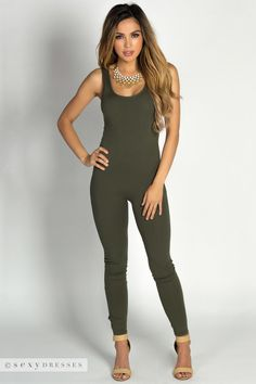 """Aaliyah"" Olive Green Jersey Tank Catsuit Jumpsuit"