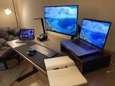 Pc Setup, Desk Setup, Hobby Desk, Office Inspo, Best Desk, Studio Setup, Diy Stuff, Desks, Game Room