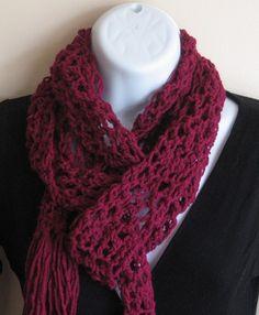 Berry Beautiful Scarf.  Women Accessories Crochet