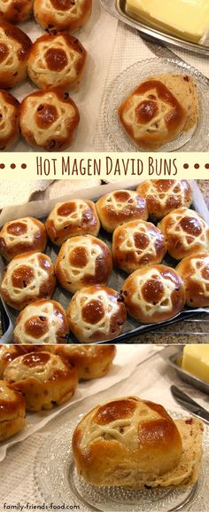 Rich fruity spicy & delicious each of these buns sports a magnificent Magen David on its golden shiny top. Enjoy them warm cold or toasted. Kosher Recipes, Bread Recipes, Hanukkah Food, Jewish Hanukkah, Hanukkah Recipes, Hannukah, Happy Hanukkah, Comida Kosher, Kosher Food