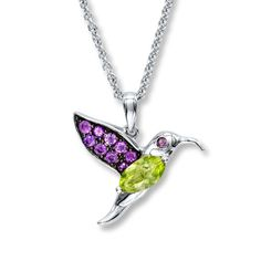 Hummingbird Necklace Peridot & Amethyst Sterling Silver