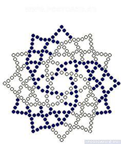 Scheme for weaving beaded napkin Beaded Earrings Patterns, Seed Bead Patterns, Beading Patterns, Beaded Ornament Covers, Art Perle, Beaded Christmas Ornaments, Snowflake Ornaments, Beaded Crafts, Loom Beading