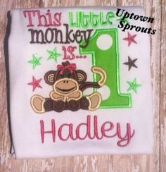 This little monkey is one first birthday onesie by UptownSprouts, $20.00
