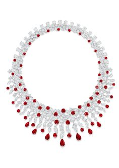 Graff Rhythm collection platinum necklace featuring rubies and diamonds in multiple cuts.