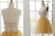 Gold and Ivory Short Bridesmaids Dress  Need abigail in something like this