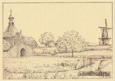 Ansichtkaart met een tekening van de Dalempoort en korenmolen De Hoop te Gorinchem gezien vanaf de Altenawal (een tweede versie).  De tekening is gemaakt door B. Speydel en gedateerd 27-11-1980. Deze kaart komt uit een serie van minimaal 8 kaarten en is uitgegeven door JosPé uit Arnhem.