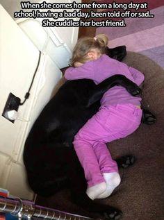 Cuddling her best friend