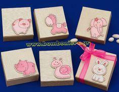 Κουτί με ροζ ζωάκια 10X10X3 για μπομπονιέρα βάπτισης