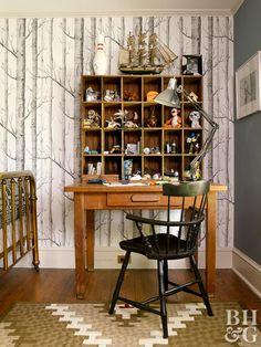 rustic birch tree pattern wallpaper with cubbyhole desk Plaid Wallpaper, Accent Wallpaper, Wallpaper Ceiling, Trellis Wallpaper, Bold Wallpaper, Chinoiserie Wallpaper, Colorful Wallpaper, Wallpaper Ideas, Pattern Wallpaper