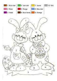 Coloriage magique - Les lapins de Pâques