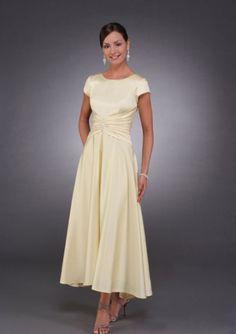 2015 Satin Short Sleeves Champagne Ruched Tea Length Mother of the Bride  Dresses MBD0027 Bride Dresses c9257c1270