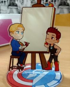 """3X4""""Inch Clear Avengers Academy Stony acrylic desktop standee!     Draw on the front side! Of Steve's Canvas to write notes/memos or little doodles. Draw Tony like a French girl ;P    The standee is roughly 3x4 Inches in size, Double-sided and comes with a FREE whiteboard marker that you use.  ..."""