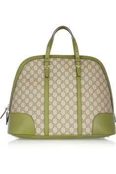 Gucci|Leather-trimmed canvas tote|NET-A-PORTER.COM