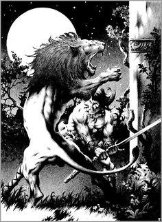 Leões do Jardim da Torre do Elefante by Stephen Fabian