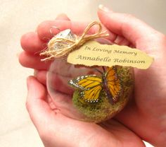 Butterfly Memorial Christmas Ornament - Monarch Captive Inside Clear Glass…
