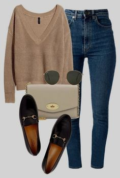 Many more like this can be found at the website! Give it a look for what we pick best for each category!Bag and shoes in vegan leather  #leather #Shoes #vegan Relaxed Outfit, Casual Heels Outfit, Comfy Outfit, Ootds, Coach Shoes, Polyvore Outfits Casual, Casual Outfits, Dark Blue Jeans Outfit, Smart Casual