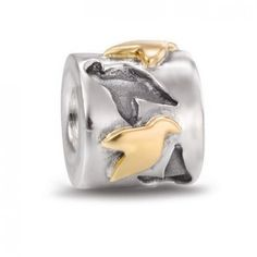 LY3934 Pandora Silver and 14ct Gold Love Birds Charm