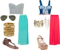 """Spring break outfits (maxi skirts)"" by cplapin on Polyvore"