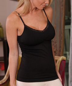 019aa5b19f Love this Black Lace Padded V-Neck Camisole - Women on  zulily!