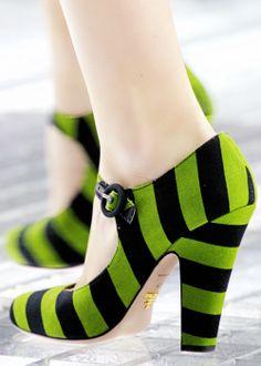 Prada Caterpillar Green Stripe Mary Jane pumps