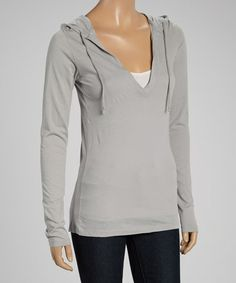Loving this Gray Hooded V-Neck Top on #zulily! #zulilyfinds